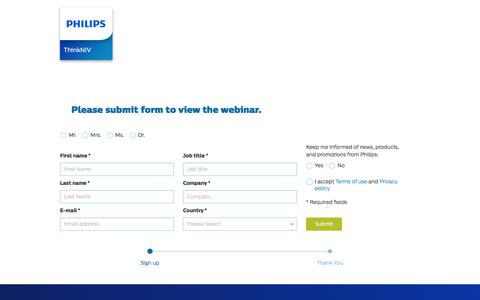 Screenshot of Landing Page philips.com - ThinkNIV Webinar   Philips Healthcare - captured Oct. 29, 2016