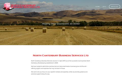 Screenshot of Home Page ncbiz.co.nz - North Canterbury Business Services Ltd - captured Oct. 7, 2014