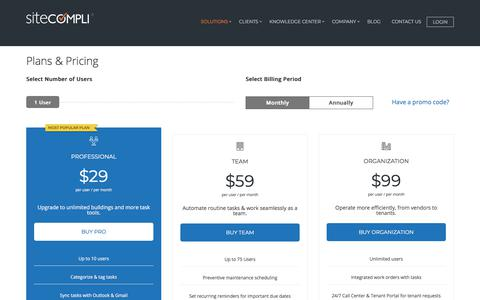 Screenshot of Pricing Page sitecompli.com - InCheck Pricing - SiteCompli - captured July 10, 2018