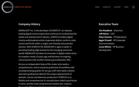 Screenshot of About Page assimilateinc.com - About » ASSIMILATE - captured Sept. 25, 2018
