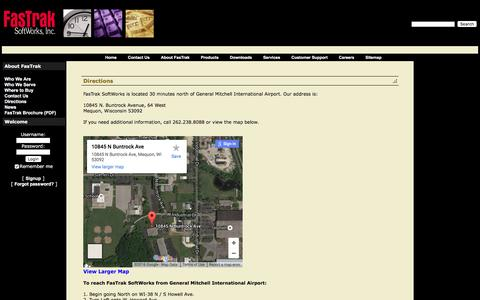 Screenshot of Maps & Directions Page fast-soft.com - FasTrak SoftWorks, Inc.: Directions - captured Feb. 9, 2016