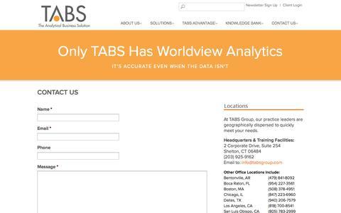 Screenshot of Contact Page tabsgroup.com - Contact Us - - captured Oct. 27, 2014