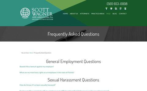 Screenshot of FAQ Page floridalaborlawyer.com - Florida Labor & Employment Law FAQs - captured Jan. 26, 2016