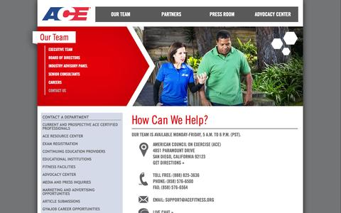 Screenshot of Contact Page acefitness.org - Contact ACE | American Council on Exercise - captured Oct. 30, 2014