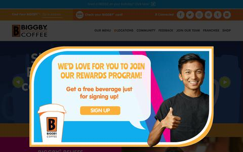 Screenshot of Home Page biggby.com - BIGGBY COFFEE ® | We exist to love people! | Coffee Near You - captured Oct. 4, 2018