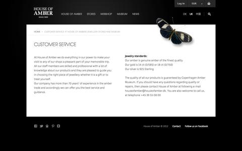 Screenshot of Services Page Support Page houseofamber.com - Customer Service at House of Ambers Jewellery Stores and Museum - captured Oct. 23, 2014