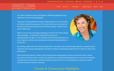 Screenshot of About Page franceslitman.com - About Frances Litman | Victoria BC Professional Photographer - captured Oct. 14, 2017