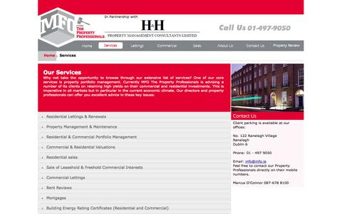 Screenshot of Services Page mfo.ie - Estate Agents Dublin, Valuations Dublin, Building Energy rating Ireland, - captured Oct. 27, 2014