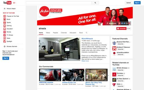 Screenshot of YouTube Page youtube.com - airasia  - YouTube - captured Oct. 29, 2014