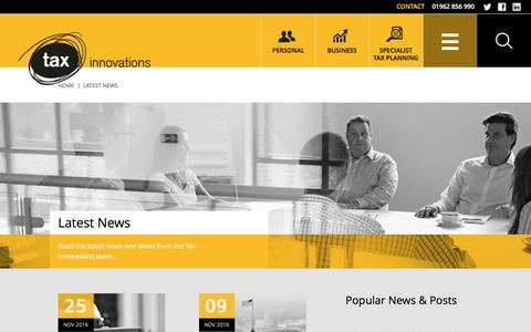 Screenshot of Press Page taxinnovations.com - News | Tax Advice, Tips and Announcements | Hampshire & London - captured Nov. 29, 2016