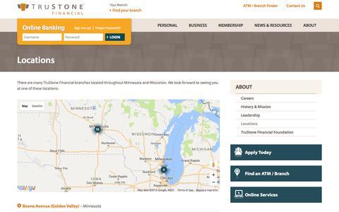 Screenshot of Locations Page trustonefinancial.org - Credit Union Locations | Minnesota, Wisconsin Credit Union | TruStone Financial - captured Nov. 30, 2016