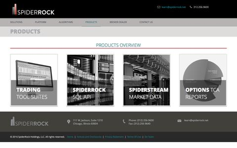 Screenshot of Products Page spiderrock.net - products - captured Dec. 1, 2016