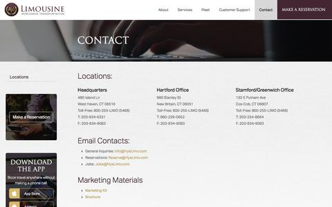 Screenshot of Contact Page hyslimo.com - Contact Hy's Limousine - captured May 20, 2017