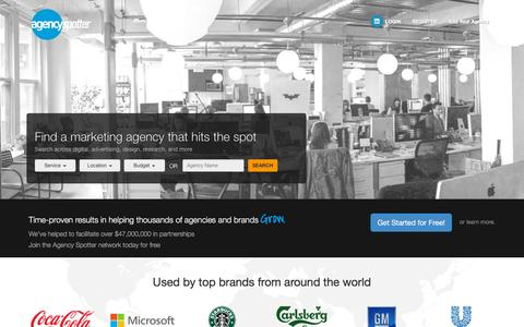 Screenshot of Home Page agencyspotter.com - Agency Spotter - Find Creative Agencies, Digital Marketing Agencies, Design Firms - captured Dec. 4, 2015