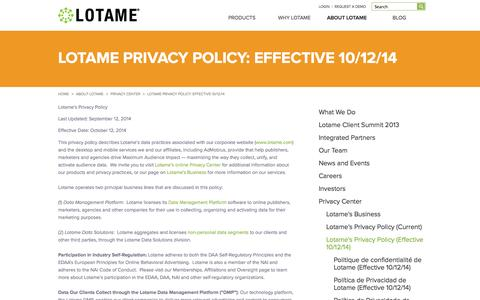 Screenshot of Terms Page lotame.com - Lotame Privacy Policy | Lotame Solutions Inc - captured Nov. 1, 2014