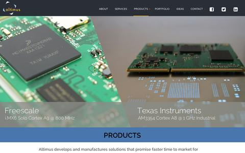 Screenshot of Products Page altimuspro.com - Product Design | Embedded Systems | Altimus Product Development Ltd. - captured Feb. 5, 2016