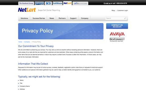 Screenshot of Privacy Page netlert.com - NetLert - Privacy Policy - captured Feb. 23, 2016