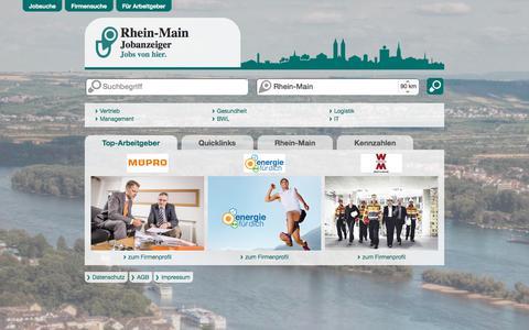 Screenshot of Home Page rhein-main-jobanzeiger.de - Rhein-Main Jobanzeiger - Die regionale Jobbörse für Rhein-Main und Umgebung - captured March 13, 2018