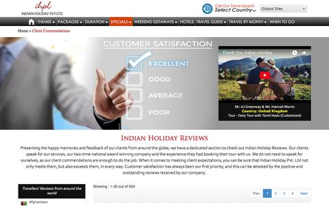 Screenshot of Testimonials Page indianholiday.com - Indian Holiday Pvt Ltd Reviews | Indian Holiday (IHPL) Client Reviews - captured Sept. 21, 2018