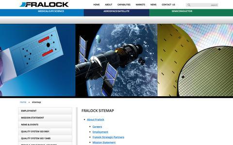 Screenshot of Site Map Page fralock.com - sitemap - Fralock - captured Aug. 9, 2018