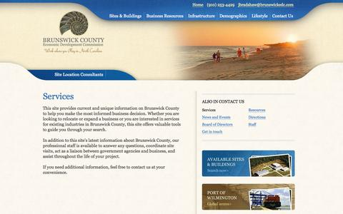 Screenshot of Services Page brunswickedc.com - Services - Brunswick County Economic Development Commission - captured Oct. 5, 2014