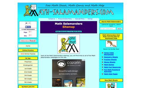Screenshot of Site Map Page math-salamanders.com - Math Salamanders Sitemap - captured Oct. 30, 2014