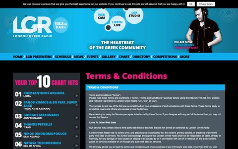 Screenshot of Terms Page lgr.co.uk - Terms & Conditions | LGR 103.3 FM - captured Sept. 30, 2018