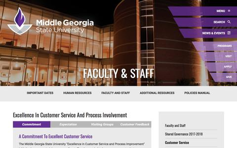 Screenshot of Support Page mga.edu - Customer Service: Middle Georgia State University - captured Oct. 1, 2017