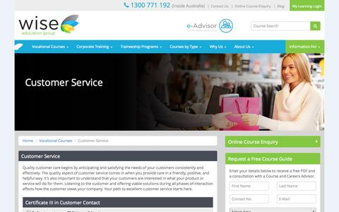 Screenshot of Support Page wise.edu.au - Customer Contact/Service Courses   Wise Education Group - captured Oct. 7, 2014