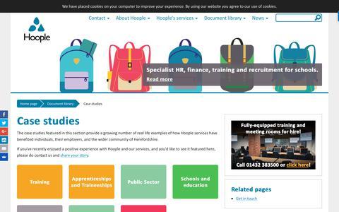 Screenshot of Case Studies Page hoopleltd.co.uk - Case studies - Hoople - captured Sept. 29, 2018