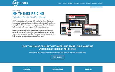 Screenshot of Pricing Page mhthemes.com - Pricing | MH Themes - captured July 21, 2016