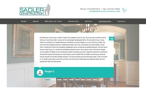 Screenshot of Testimonials Page sadlerconstructionnc.com - Testimonials | Sadler Construction | Barrier-Free and Accessible Home Design and Construction - captured Nov. 18, 2016