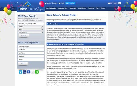 Screenshot of Privacy Page hometutors.org.uk - Private Tuition Agencies, English Tutor & Maths Teacher Jobs, Home Tutoring Education & Teaching Lessons London � Home Tutors - captured Sept. 30, 2014