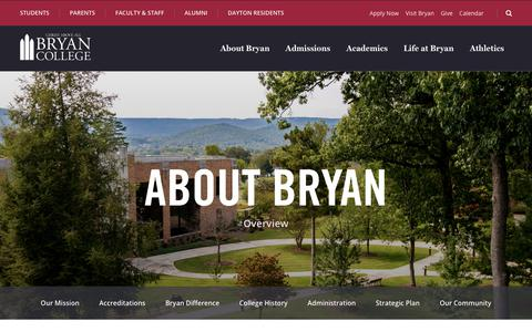 Screenshot of About Page bryan.edu - About Bryan - Bryan College - captured Sept. 22, 2018