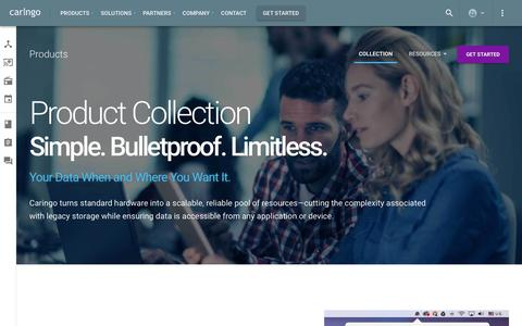 Screenshot of Products Page caringo.com - Collection – Products – Caringo - captured Nov. 7, 2019