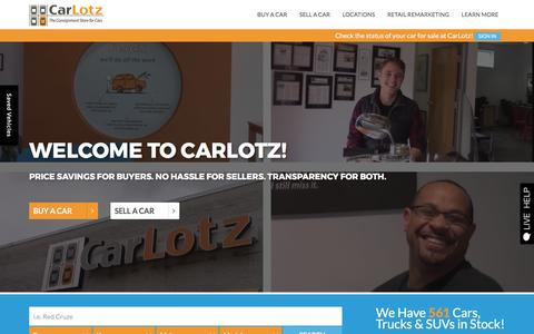 Screenshot of Home Page carlotz.com - CarLotz | Used Car Dealer in Virginia and North Carolina - captured April 3, 2017