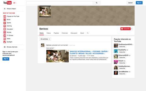 Screenshot of YouTube Page youtube.com - Sanicoc  - YouTube - captured Oct. 23, 2014