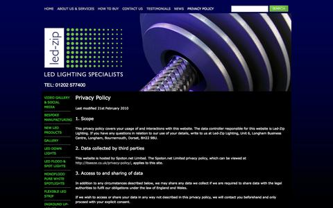 Screenshot of Privacy Page led-zip.co.uk - Privacy policy - Led-Zip Lighting - captured Oct. 2, 2014