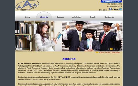 Screenshot of About Page acastudy.in - AAA COMMERCE ACADEMY - captured Oct. 4, 2014