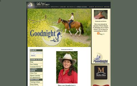 Screenshot of Testimonials Page juliegoodnight.com - Julie Goodnight Natural Horsemanship / Horse Master TV Show - captured Oct. 3, 2014