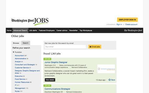 Screenshot of Jobs Page washingtonpost.com - Other jobs - captured Feb. 14, 2017