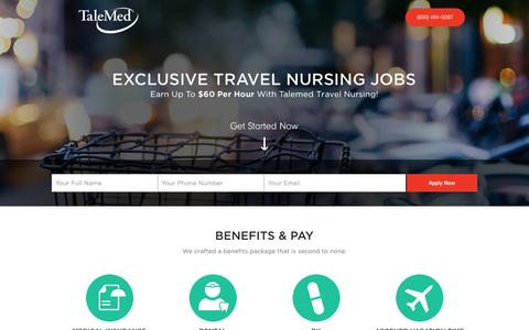 Screenshot of Landing Page talemed.com - Travel Nurse Jobs | Talemed - captured Oct. 27, 2014