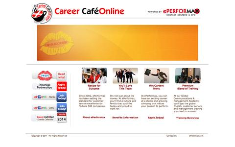 Screenshot of Jobs Page eperformax.com - ePerformax Career Cafe Online - captured Dec. 14, 2015