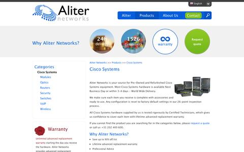 Screenshot of Products Page aliternetworks.com - Refurbished and Pre-Owned Cisco Systems - captured Dec. 24, 2015