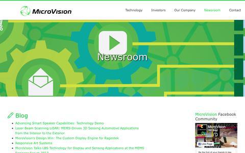 Screenshot of Press Page microvision.com - Newsroom - captured Sept. 23, 2018