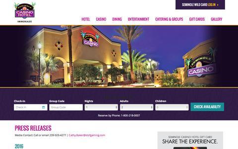 Screenshot of Press Page seminoleimmokaleecasino.com - Press Releases  | Seminole Casino Hotel Immokalee - captured Jan. 19, 2016