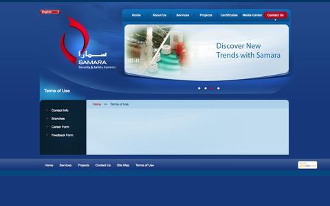 Screenshot of Terms Page samarasecurity.com - Terms of Use | SAMARA - captured Oct. 27, 2014