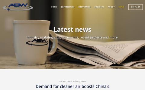 Screenshot of Press Page abwtec.com - News | Industry Blog | ABW Technologies, Inc. - captured Nov. 19, 2016