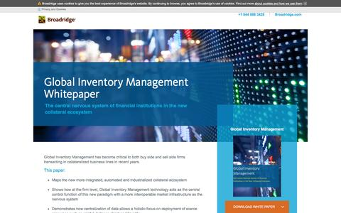 Screenshot of Landing Page broadridge1.com - Broadridge | Global Inventory Management Whitepaper - captured April 7, 2017