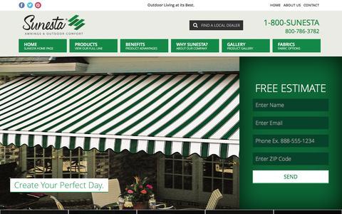 Screenshot of Home Page sunesta.com - Retractable Awnings | Screens | Patio Awning | Sunesta - captured Jan. 24, 2015